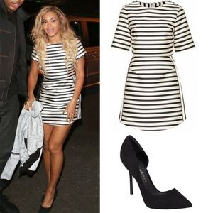 Topshop Striped Satin Structured B&W Dress